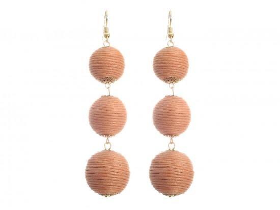 Peach Cord Wrap Ball Hook Earrings