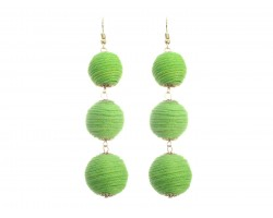 Peridot Cord Wrap Ball Hook Earrings