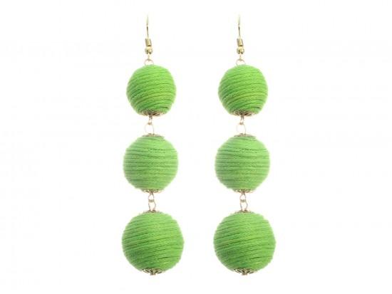 Peridot Cord Wrap Ball Hook Earrings