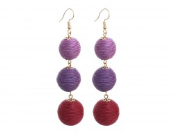 Purple Multi Cord Wrap Ball Hook Earrings