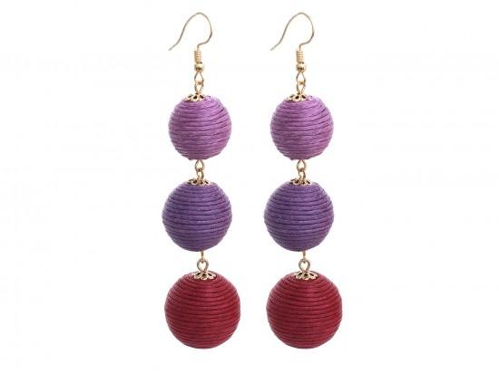 Purple Multi Cord Wrap Ball Hook Earrings