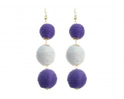 Purple White Cord Wrap Ball Hook Earrings