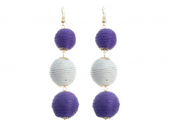 Purple White Cord Wrap Ball Hook Earrings