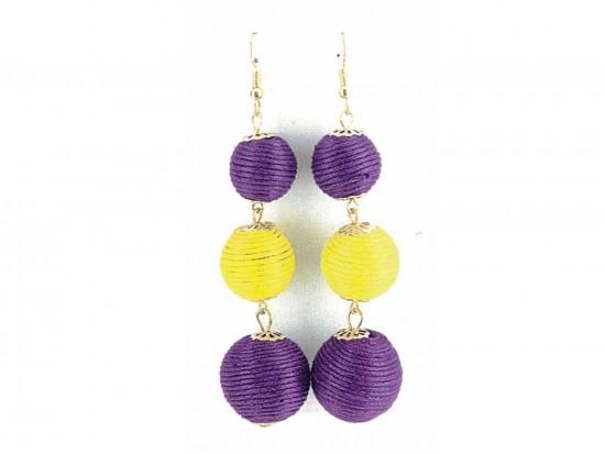 Purple Yellow Cord Wrap Ball Hook Earrings