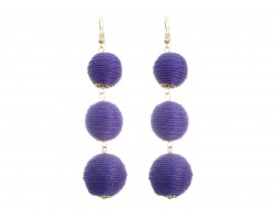 Purple Cord Wrap Ball Hook Earrings