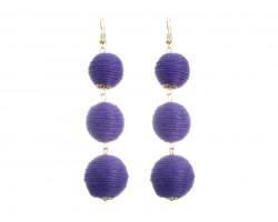 Purple Cord Wrap Ball Hook Earrings
