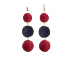 Red Black Cord Wrap Ball Hook Earrings