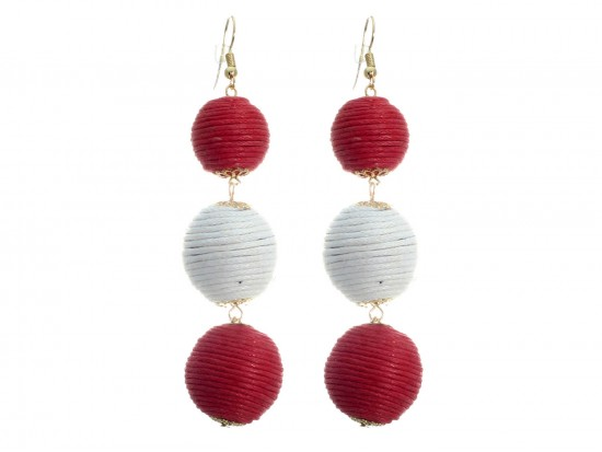 Red White Cord Wrap Ball Hook Earrings