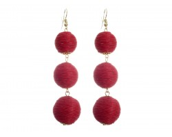 Red Cord Wrap Ball Hook Earrings