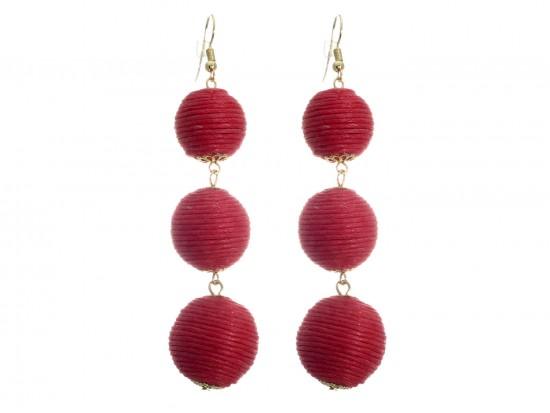 Red Cord Wrap Ball Hook Earrings