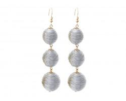 Silver Cord Wrap Ball Hook Earrings