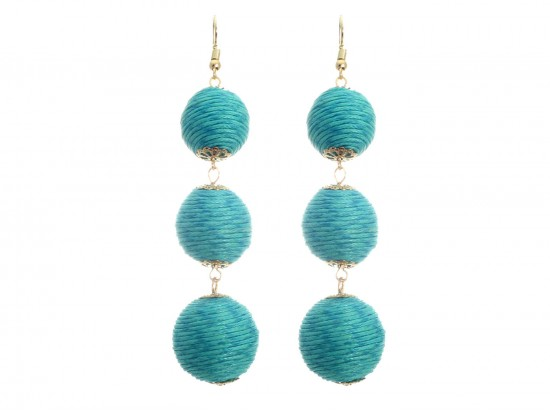 Teal Cord Wrap Ball Hook Earrings