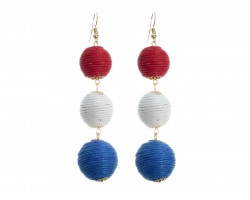 Red White Blue Cord Wrap Ball Hook Earrings