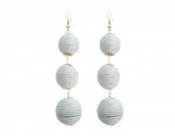 White Cord Wrap Ball Hook Earrings