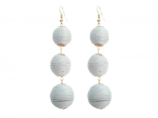 White Cord Wrap Ball Hook Earrings