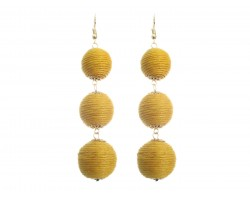Yellow Orange Cord Wrap Ball Hook Earrings