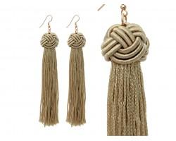 Gold Tassel Thread Knot Hook Earrings