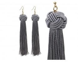Gray Tassel Thread Knot Hook Earrings