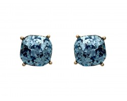 Aquamarine Glitter Gold Square Post Earrings
