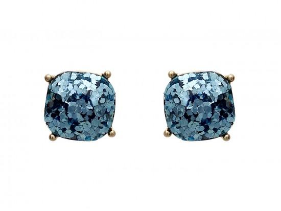 Aquamarine Glitter Gold Square Post Earrings