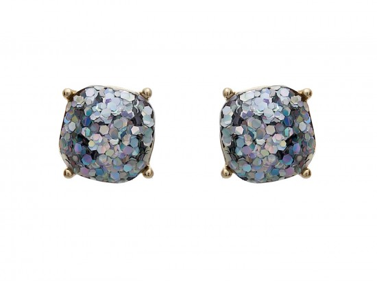 AB Glitter Gold Square Post Earrings