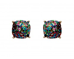 Dark Multi Glitter Gold Square Post Earrings