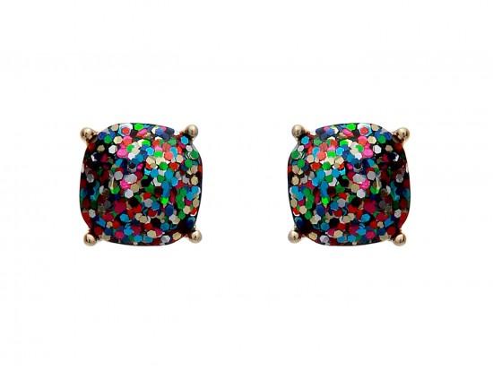 Dark Multi Glitter Gold Square Post Earrings