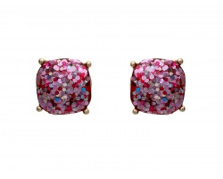 Fuchsia Glitter Gold Square Post Earrings