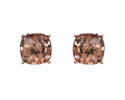 Peach Glitter Gold Square Post Earrings