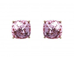 Pink Glitter Gold Square Post Earrings