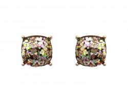 Vitrail Multi Glitter Gold Square Post Earrings