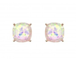 White AB Glitter Gold Square Post Earrings