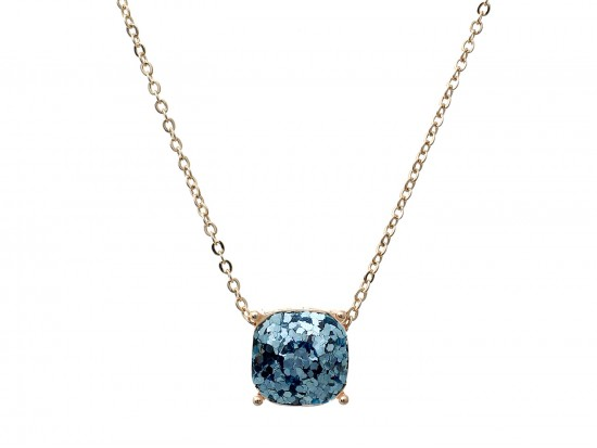 Aquamarine Glitter Gold Square Necklace