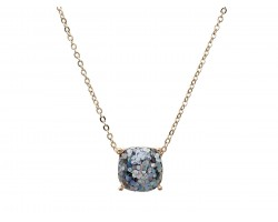 AB Glitter Gold Square Necklace