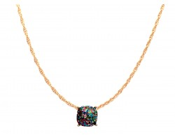 Dark Multi Glitter Gold Square Necklace