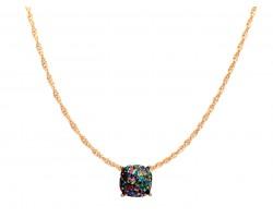 Dark Multi Glitter Gold Square Necklace