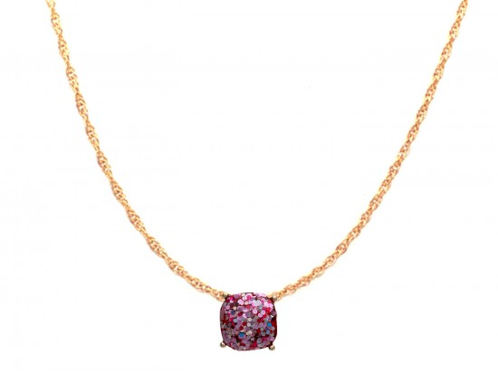 Fuchsia Glitter Gold Square Necklace