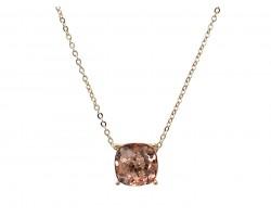 Peach Glitter Gold Square Necklace