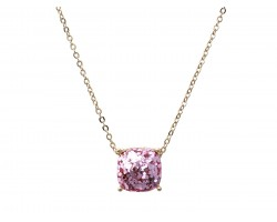 Pink Glitter Gold Square Necklace
