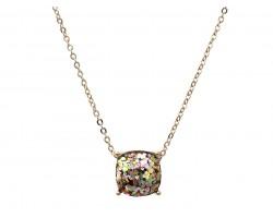 Viteral Glitter Gold Square Necklace