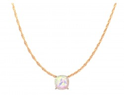 White AB Glitter Gold Square Necklace