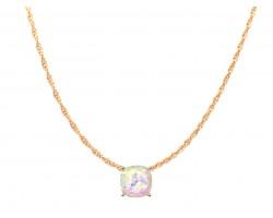 White AB Glitter Gold Square Necklace