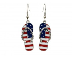 American Flag Crystal Sandal Hook Earrings