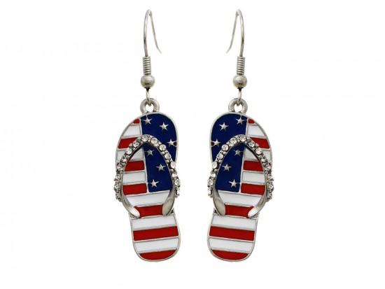 American Flag Crystal Sandal Hook Earrings