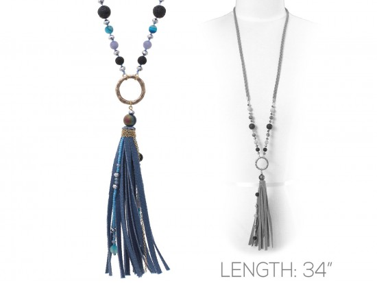 Blue Suede Cord Tassel Gold Ring Necklace