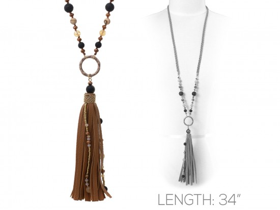 Brown Suede Cord Tassel Gold Ring Necklace
