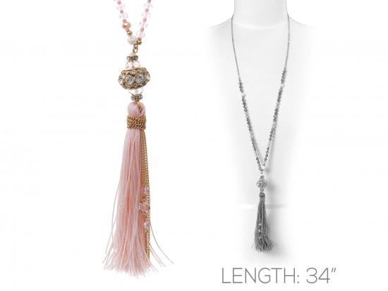 Peach Thread Tassel Crystal Necklace
