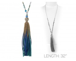 Blue Suede Cord Tassel Crystal Gold Necklace