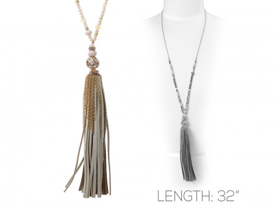 Brown Suede Cord Tassel Crystal Gold Necklace