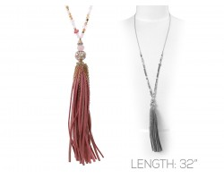 Pink Suede Cord Tassel Crystal Gold Necklace